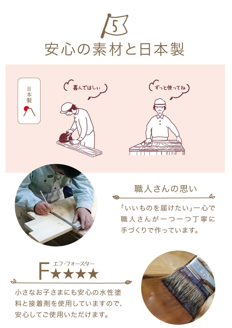 国産ひのき安心の素材と日本製